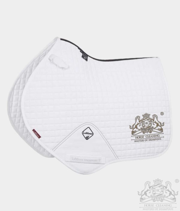 Horse Cleaning ProSport Close Contact Saddle Pad White And Gold Logo