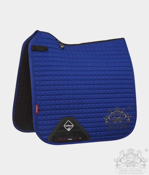 Horse Cleaning ProSport Cotton Dressage Square Saddle Pad Benetton Blue And Gold