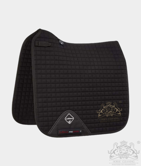 Horse Cleaning ProSport Cotton Dressage Square Saddle Pad Black And Gold