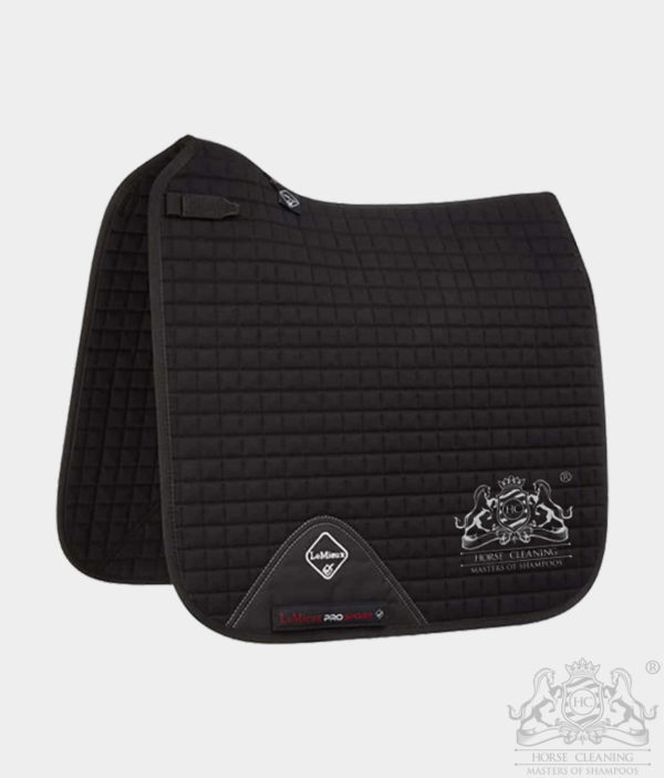 Horse Cleaning ProSport Cotton Dressage Square Saddle Pad Black And White