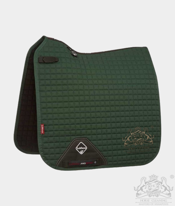 Horse Cleaning ProSport Cotton Dressage Square Saddle Pad Green And Gold