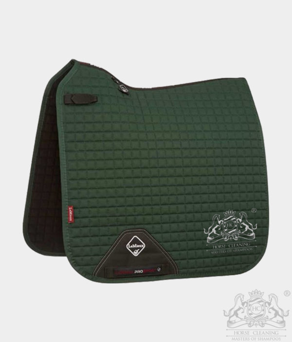 Horse Cleaning ProSport Cotton Dressage Square Saddle Pad Green And White