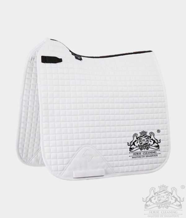Horse Cleaning ProSport Cotton Dressage Square Saddle Pad White And Black