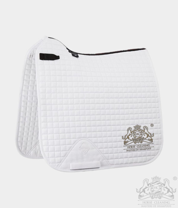 Horse Cleaning ProSport Cotton Dressage Square Saddle Pad White And Gold