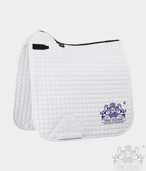 Horse Cleaning ProSport Cotton Dressage Square Saddle Pad White And Navy